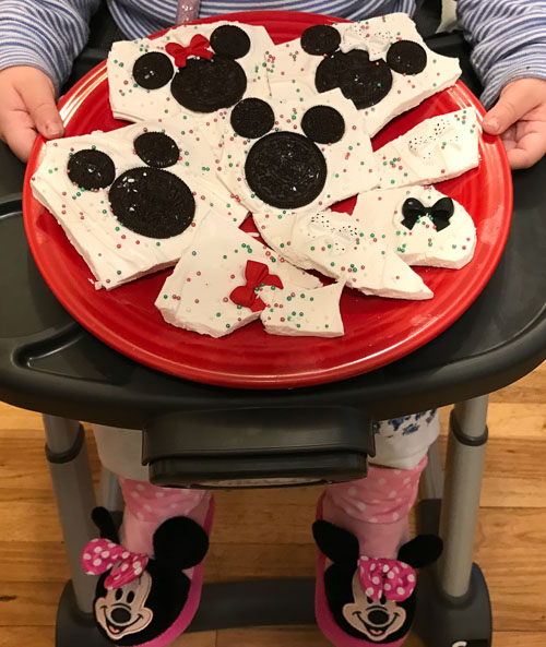 mickey minnie mouse holiday bark plate dreams and caffeine