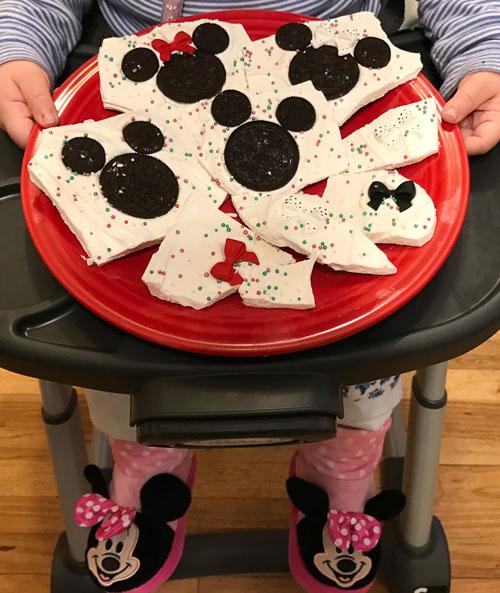 mickey minnie mouse holiday bark plate dreams and caffeine